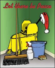 Janitorial equipment and peace holiday greeting card