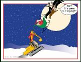 Lifting Excavator with sleigh holiday greeting card