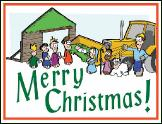 Loader manger scene holiday greeting card