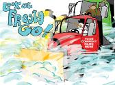 Look at Frosty Go Snowplows Holiday greeting card