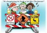 Traffic Signs of Naughty and Nice HOliday Christmas greeting card