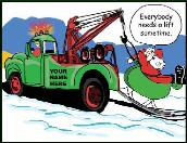 Need a lift towing holiday greeting card