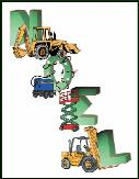 Noel with construction equipment holiday greeting card