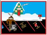 North Pole parking lot striping holiday greeting card
