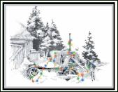 Nostalgia dozer holiday greeting card