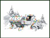 Nostalgiz oil truck holiday greeting card