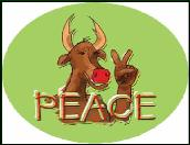 Rudolph and peace sign holiday greeting card
