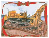 Old bull dozer holiday greeting card