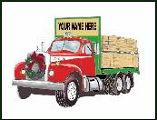 Old lumber truck holiday greeting card