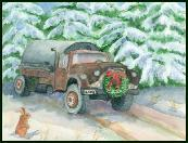 Old septic truck holiday greeting card