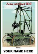 Old well driller holiday greeting card