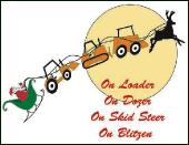 On loader on dozer holiday greeting card