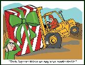Overloaded forklift holiday greeting card
