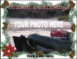 Personalized Photo Christmas card with poinsettia
