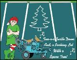 Parking lot spare tree holiday greeting card