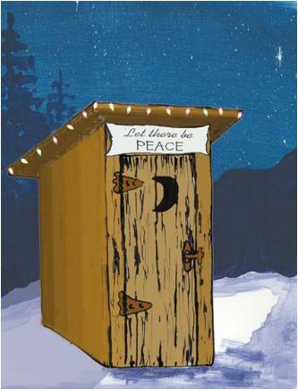 Peaceandouthouse Christmas Holiday Greeting Card