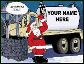 Peace and septic truck holiday greeting card