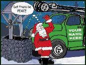 Peace and well drill rig holiday greeting card