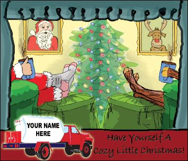Propane Truck Cozy Christmas holiday greeting card