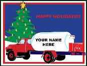 Propane truck with company name holiday greeting card