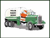 Propane truck with Santa holiday greeting card