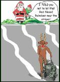 Red Nosed parking lot striper holiday greeting card