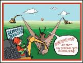 Backhoe reindeer training holiday greeting card