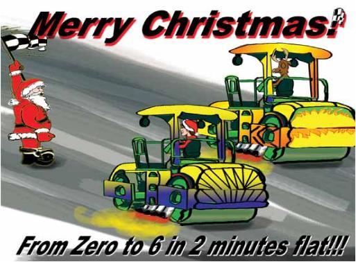 ROLLER DRAG RACING christmas card