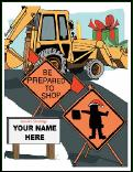 Santa be prepared backhoe holiday greeting card