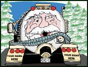 Santa on back end of septic truck holiday greeting card