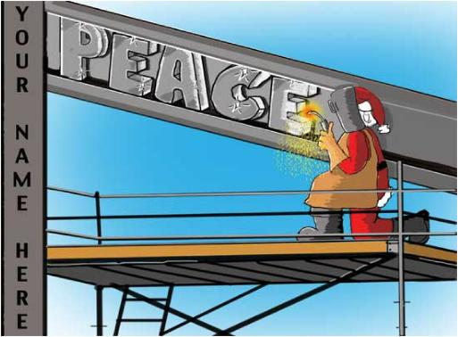 Santa Welding Peace Christmas Holiday Greeting Card