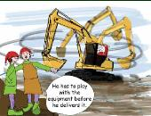 Santa whirling excavator holiday greeting card