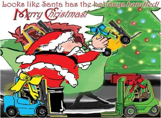 Santa unloading sleigh of forklifts Holiday Greeting Christmas card
