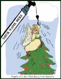 Crane hanging scared angel Holiday greeting card