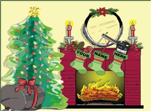Sealcoating Tools in Stockings Christmas Holiday Greeting Card
