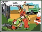 Septic tank cleaning crew holiday greeting card