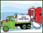 Septic tank truck with lights holiday greeting card