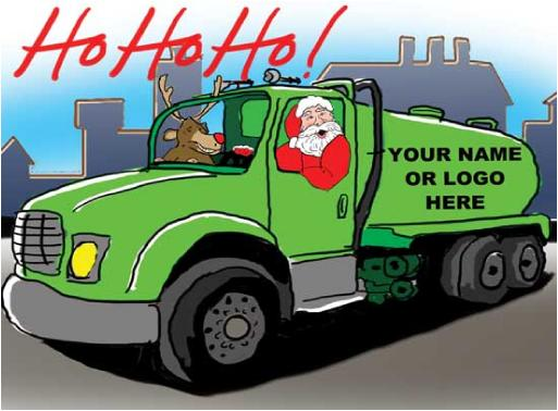Septic Truck with Santa & Rudolph Christmas Holiday Greeting card
