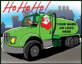 Santa and Rudolph in Septic Truck holiday greeting card