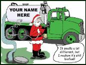 Septic truck with used gas holiday greeting card