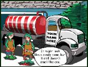 Septic truck with striping  holiday greeting card