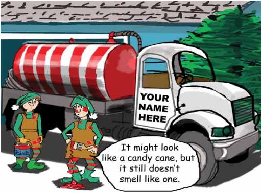 Septic tank truck with candy cane striping