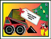 Skidsteer with gift tag holiday greeting tag