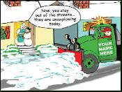 Snowplow stay out of streets Christmas holiday greeting card