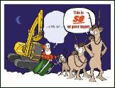 Excavator so not holiday greeting card