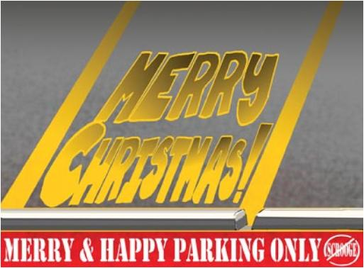 #488 Striping Merry Parking Lot Greeting Christmas card