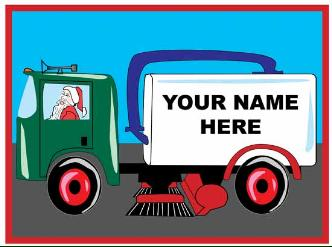 Sweeper truck with name on side holiday greeting card