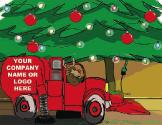 Sweeper under Christmas tree Christmas Holidaygreeting card