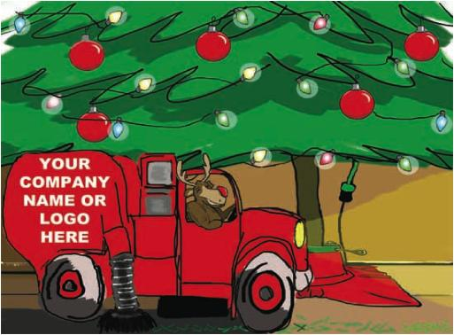 Sweeper under the Tree Christmas Holiday Greeting Card