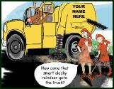 Sweeper truck vs brooms holiday greeting card